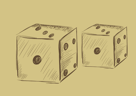 Two dice in style a vintage on a light background Vector