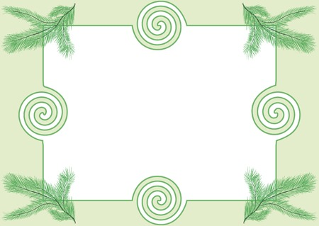 Photoframe with abstract curves and branches of a fir-tree Vector