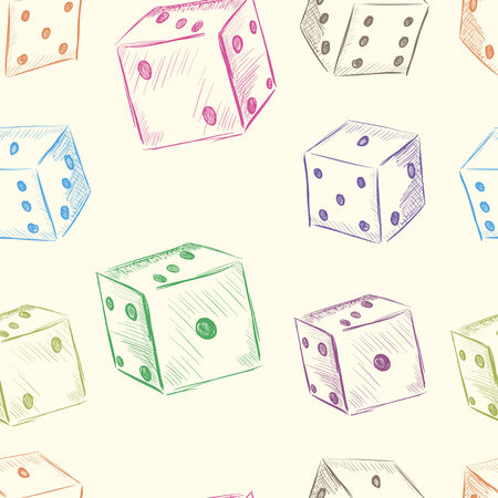 Color dice in a chaotic arrangement seamless texture Vector