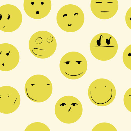 looks: Yellow smilies with looks on a light background Illustration