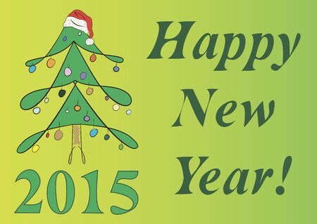 firtree: Fir-tree, 2015 and inscription happy New Year Illustration
