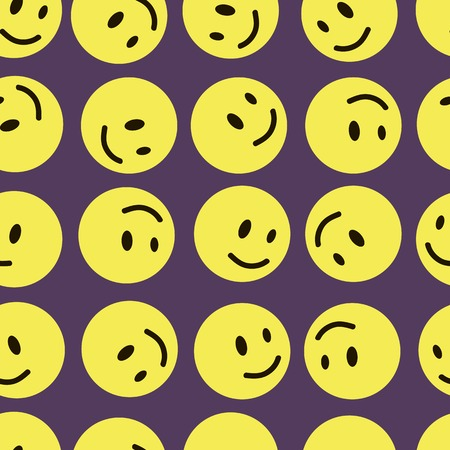 roundish: Yellow mugs smilies on a violet background seamless texture