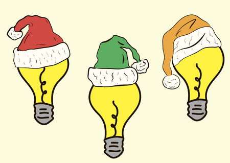 new year's cap: Yellow electric bulbs in New Years caps