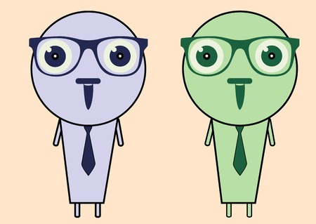 civilized: Two color intelligent persons wearing spectacles and tie