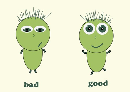 gloomy: Cheerful and gloomy green little men with inscriptions