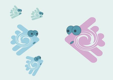small size: Peque�os peces abstractos multicolor con ojos de diferente tama�o