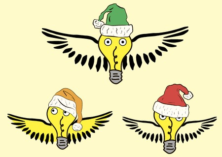 see weed: Winged yellow bulbs in Christmas color hats