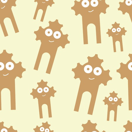 The happy amusing brown smiling monsters seamless texture Çizim