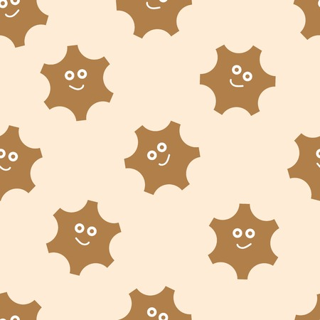 nonexistent: The cheerful brown smiling gears seamless texture Illustration