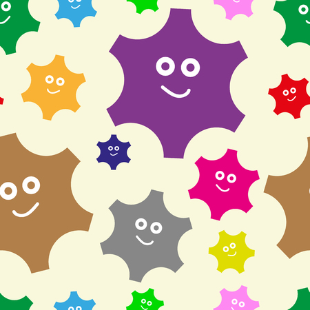 The cheerful color smiling gears seamless texture