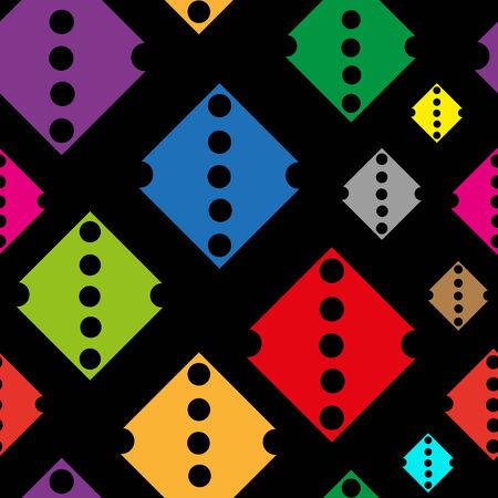 holes: Color rhombuses with holes on a dark background seamless texture Illustration