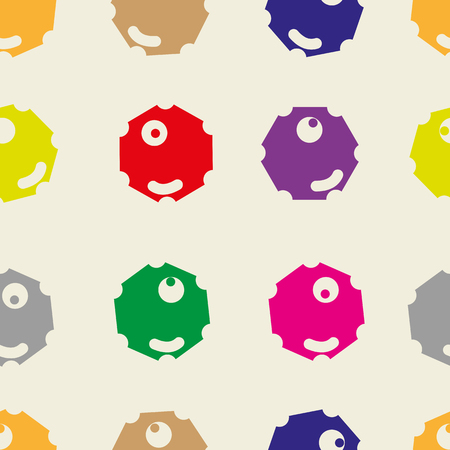 one eyed: Polygonal abstract color faces with one eye seamless texture