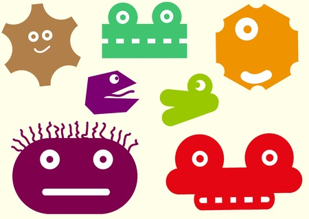 nonexistent: Set of the various heads of nonexistent monsters Illustration