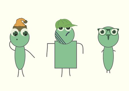 the attributes: Three different stylized green the character with attributes