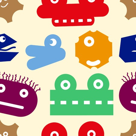 Seamless texture with the color various heads of monsters Vector
