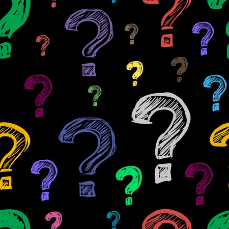 interrogative: Color question marks on a black background seamless texture Illustration