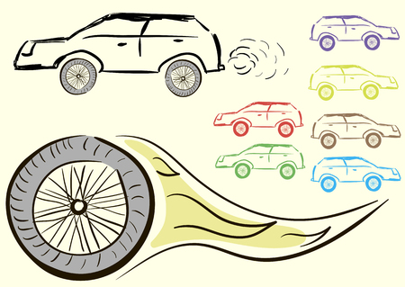 negligent: Clipart with negligent cars and the burning wheel