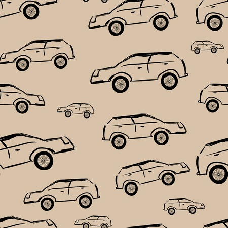unsightly: Unsightly black cars on a brown background seamless texture