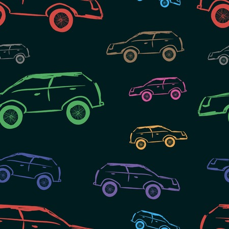 unsightly: Colorful unsightly cars on a black background Illustration