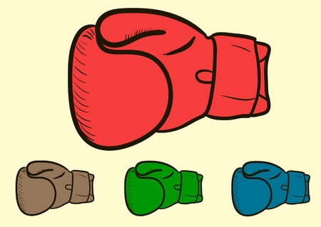 rubber glove: Clipart of identical color boxing right gloves