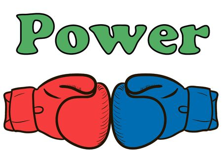 creative force: Boxing gloves of different color and inscription power Stock Photo