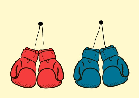 boxing sport: The sketch with two couples color boxing gloves
