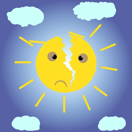 discontent: The yellow sun with a crack against the sky Illustration