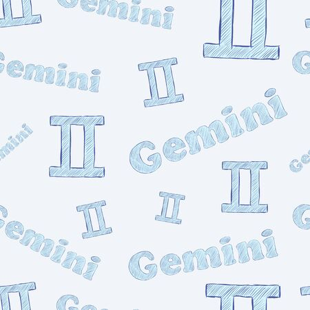 Seamless texture with gemini zodiac sign the sketch on the blue Vector