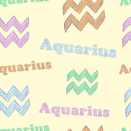 Seamless texture with Aquarius zodiac sign the sketch on the light Vector