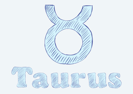 negligent: Taurus zodiac sign the sketch with an inscription