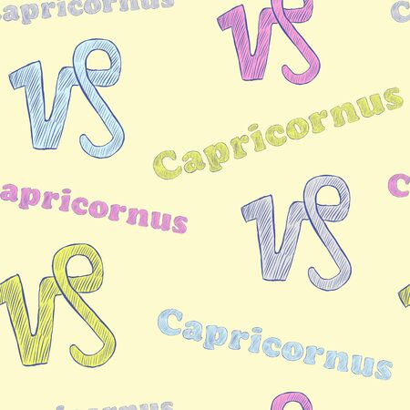 capricornus: Seamless texture with Capricornus zodiac sign the sketch on the light