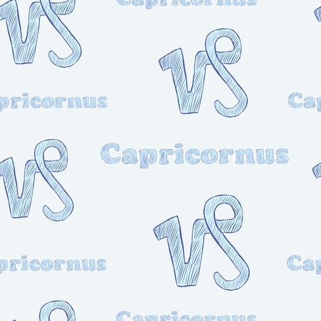 capricornus: Seamless texture with Capricornus zodiac sign the sketch on the blue Illustration