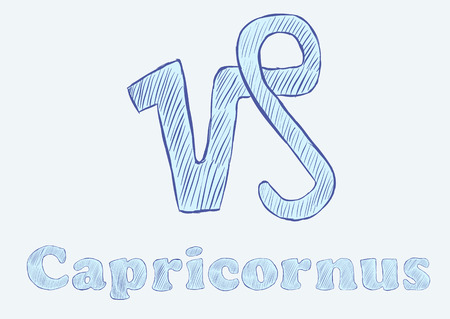 capricornus: Capricornus zodiac sign the sketch with an inscription
