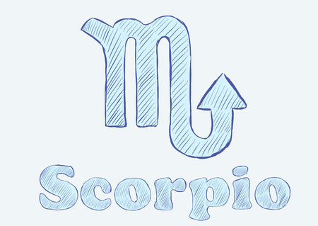 the art of divination: Scorpio zodiac sign the sketch with an inscription Illustration