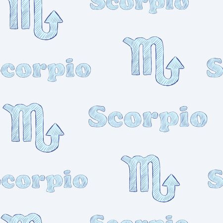 Seamless texture with Scorpio zodiac sign the sketch on the blue Vector