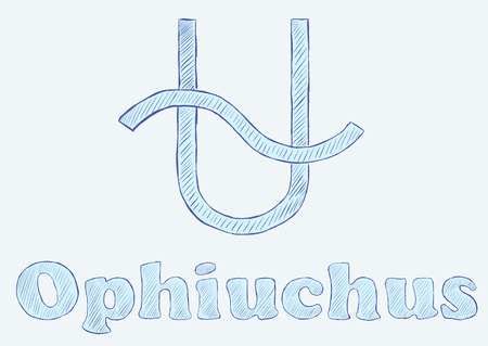 negligent: Ophiuchus zodiac sign the sketch with an inscription