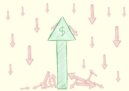 Shooters of falling and growth of currency Vector