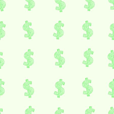 Seamless structure with green sketches of dollar Vector