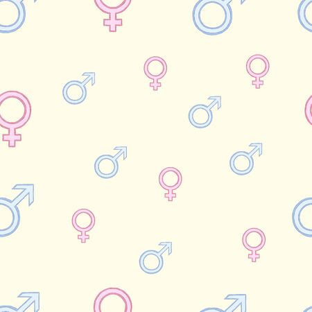 mans: Seamless female and mans signs on a light background
