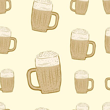 beer texture: Seamless texture with a brown glass of beer