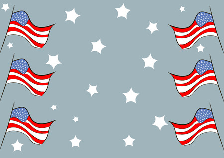 fluttering: The fluttering stylized American flags against stars