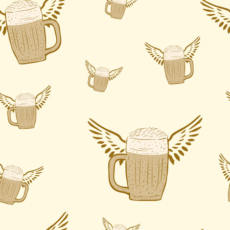 perspiration: Seamless winged beer mugs on a light background Illustration