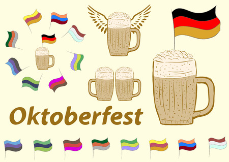checkboxes: Clipart of Oktoberfest with glasses of beer and checkboxes