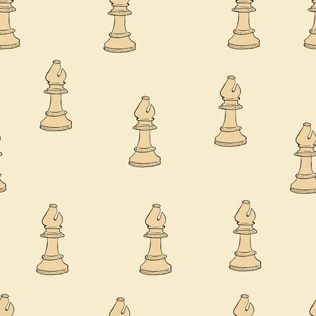 Seamless chess figure of bishop on a light background