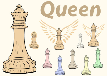 chessman: Clipart a set with multi-colored chessman queen Illustration