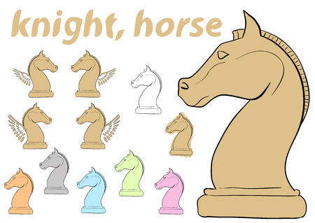 chessman: Clipart a set with multi-colored chessman knight
