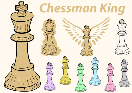 chessman: Clipart a set with multi-colored chessman king Illustration