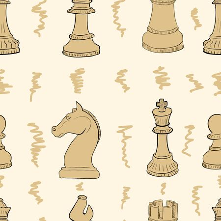 Seamless texture with brown chess and curls