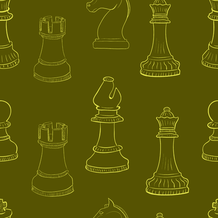 contours: Seamless texture with contours of chess figures Illustration