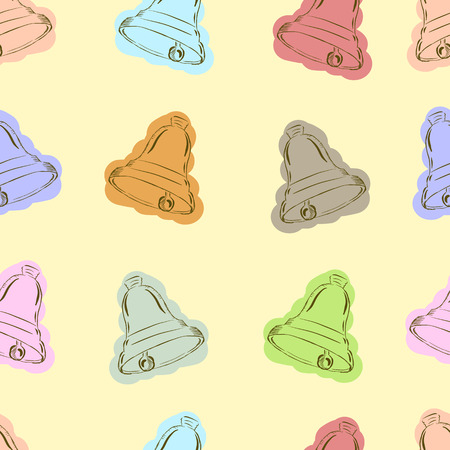 hand bells: Seamless textures with school colorful hand bells Illustration